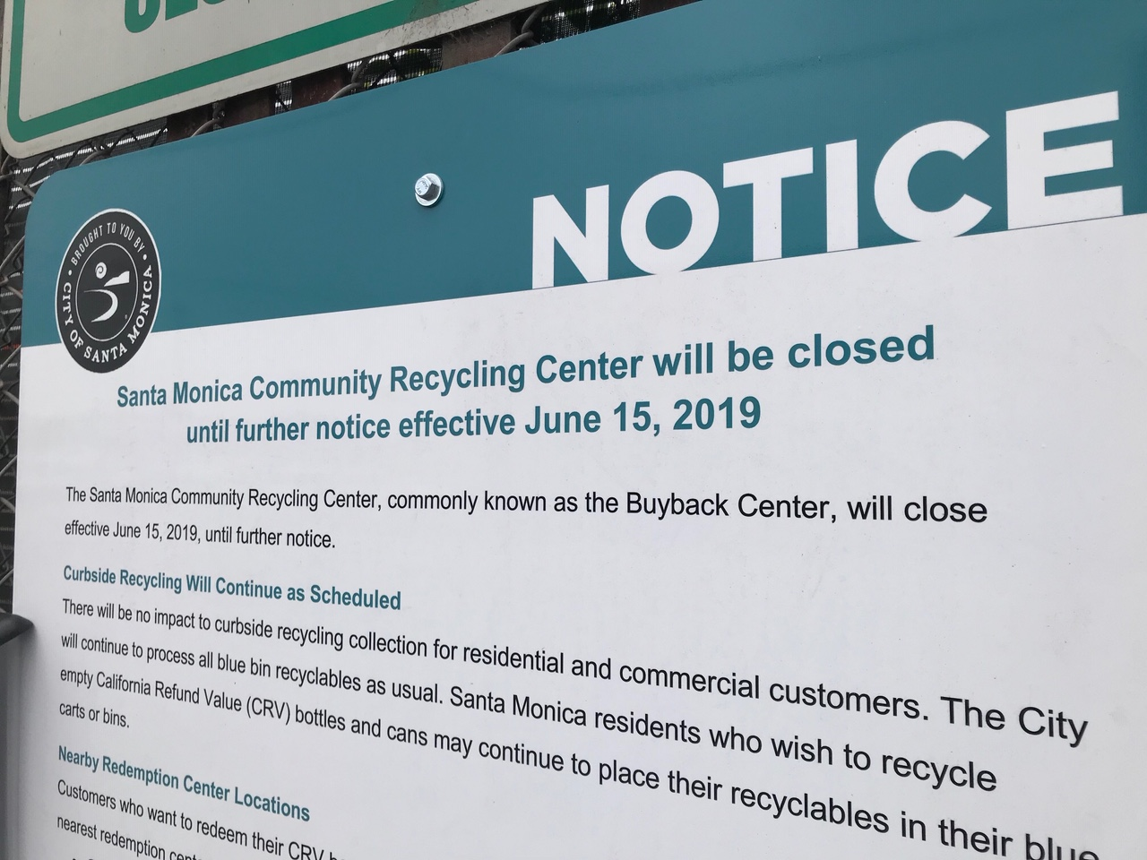recycling center closed