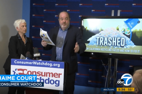 "Jamie Court introduces Consumer Watchdog's new report ""Trashed,"" on CA's failing recycling program."