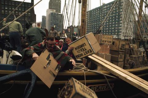 Boston Tea Party re-enactment in Boston Harbor