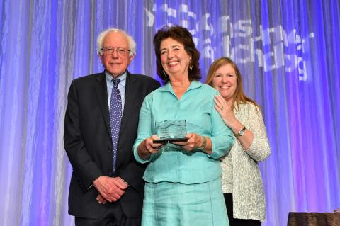 RoseAnn DeMoro with Bernie & Jane Sanders
