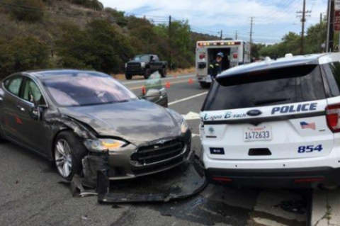 Tesla Police Car Crash